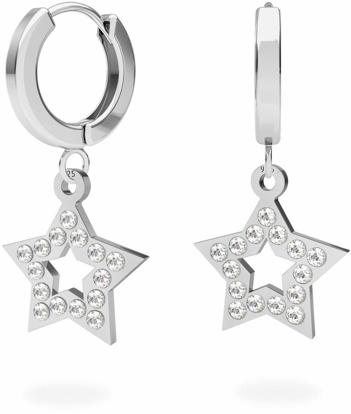 Srebrne kolczyki gwiazdki z kryształami Swarovskiego : Srebro - kolor pokrycia - Pokrycie platyną