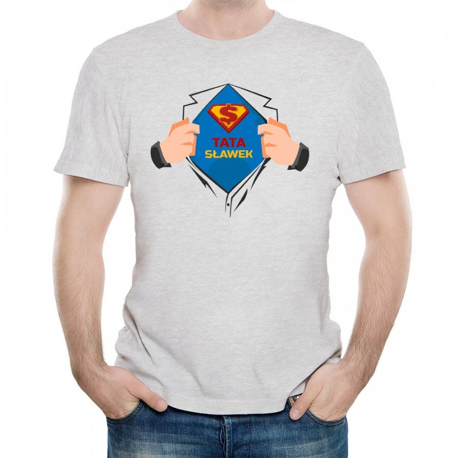 Koszulka Szara Męska z Twoim Nadrukiem SUPER TATA