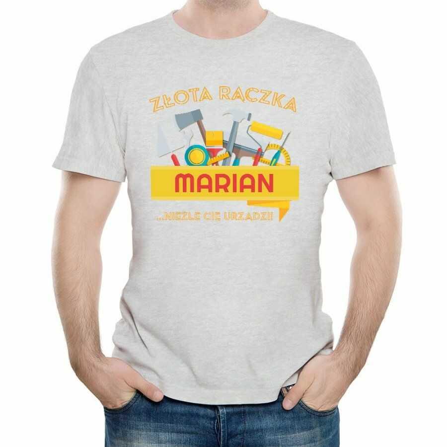 Koszulka Szara Męska z Twoim Nadrukiem ZŁOTA RĄCZKA