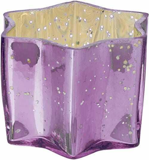 Insideretail szkło rtęciowe gwiazda świecznik herbaciany - z postarzaną fioletowym folią, 7 cm x 7 cm x 4,5 cm, zestaw 12, 7 x 4,5 x 7 cm