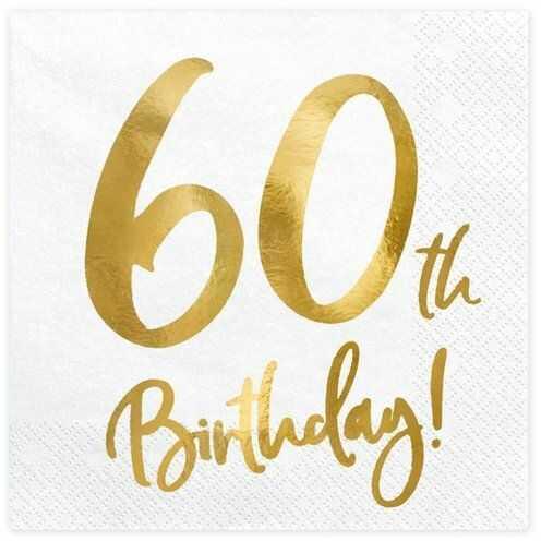 Serwetki na 60 urodziny 33 cm 20 szt. SP33-77-60-008