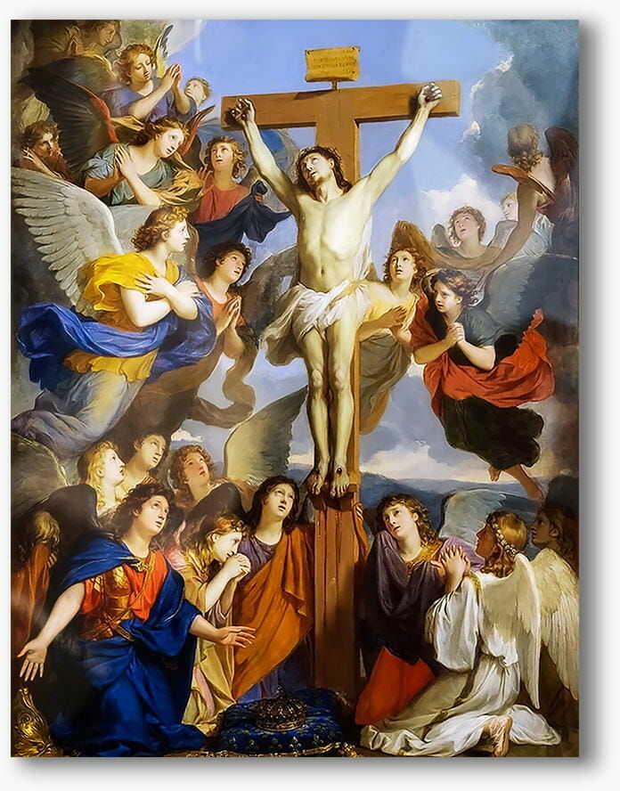 Ukrzyżowany Chrystus z aniołami, nowoczesny obraz religijny plexi