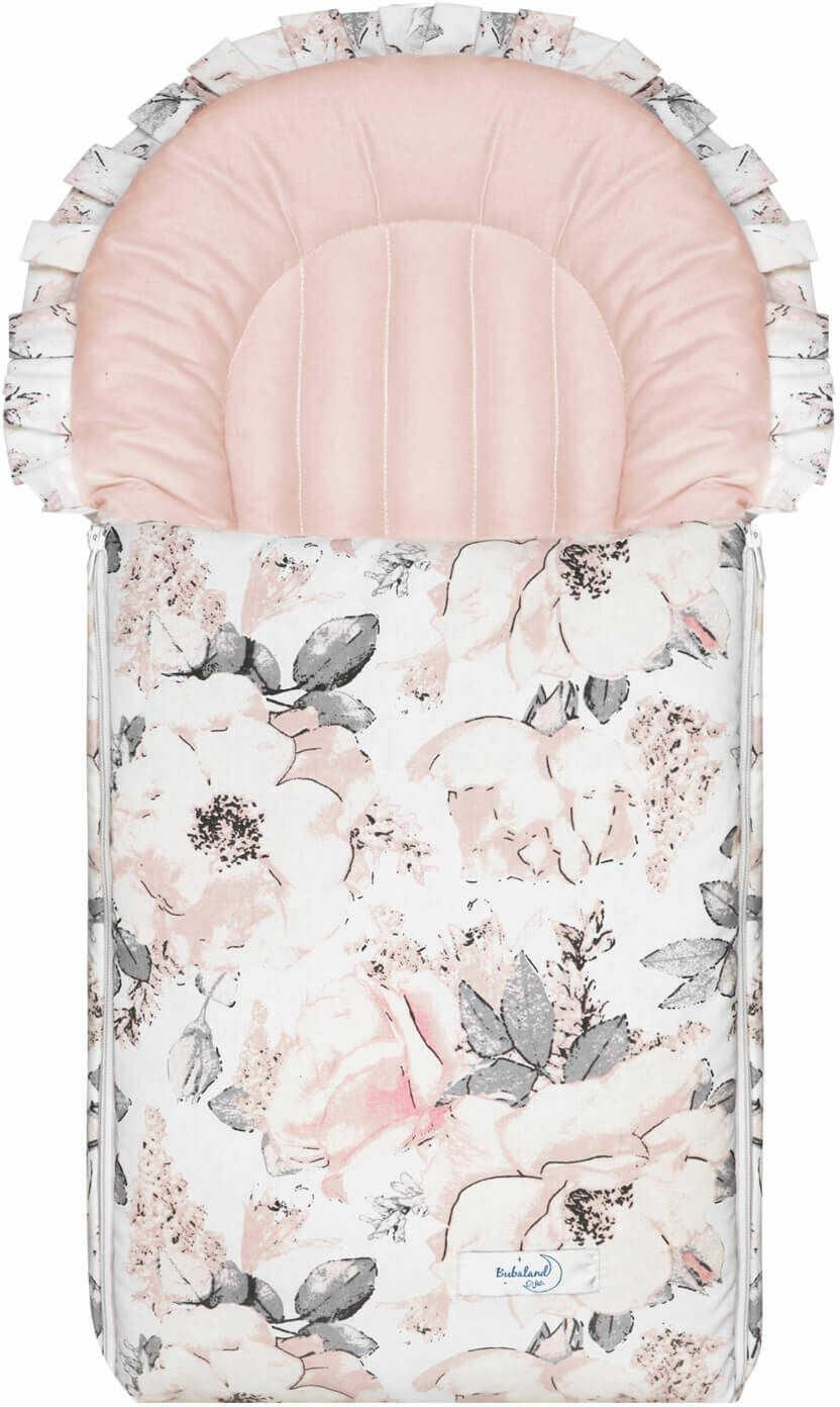Rożek dla niemowlaka - becik dla dziecka Flowers pink  100% bawełna