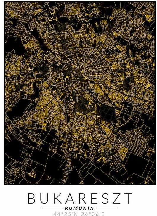 Bukareszt złota mapa - plakat wymiar do wyboru: 30x40 cm