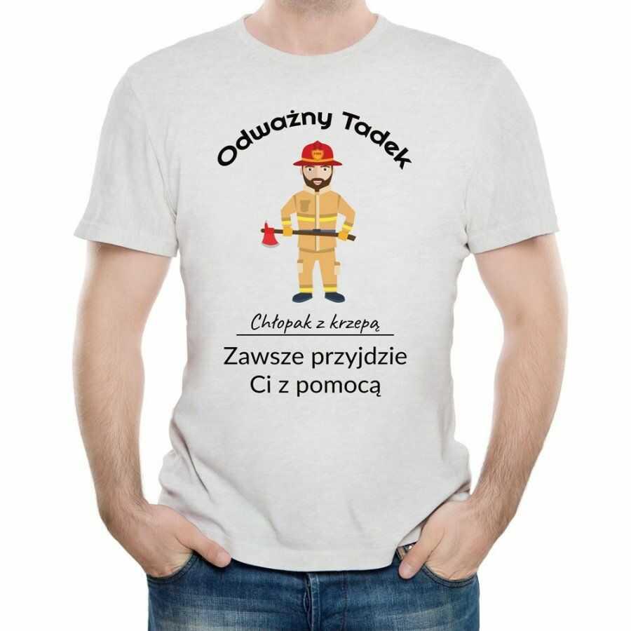 Koszulka Szara Męska z Twoim Nadrukiem ODWAŻNY