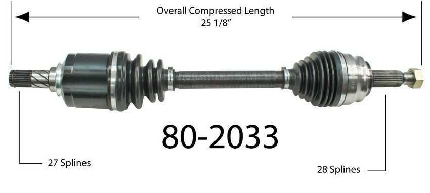 Półoś napędowa przednia lewa 80-2033