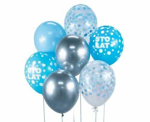 Bukiet balonowy srebrno-niebieski Sto Lat, 7 szt.
