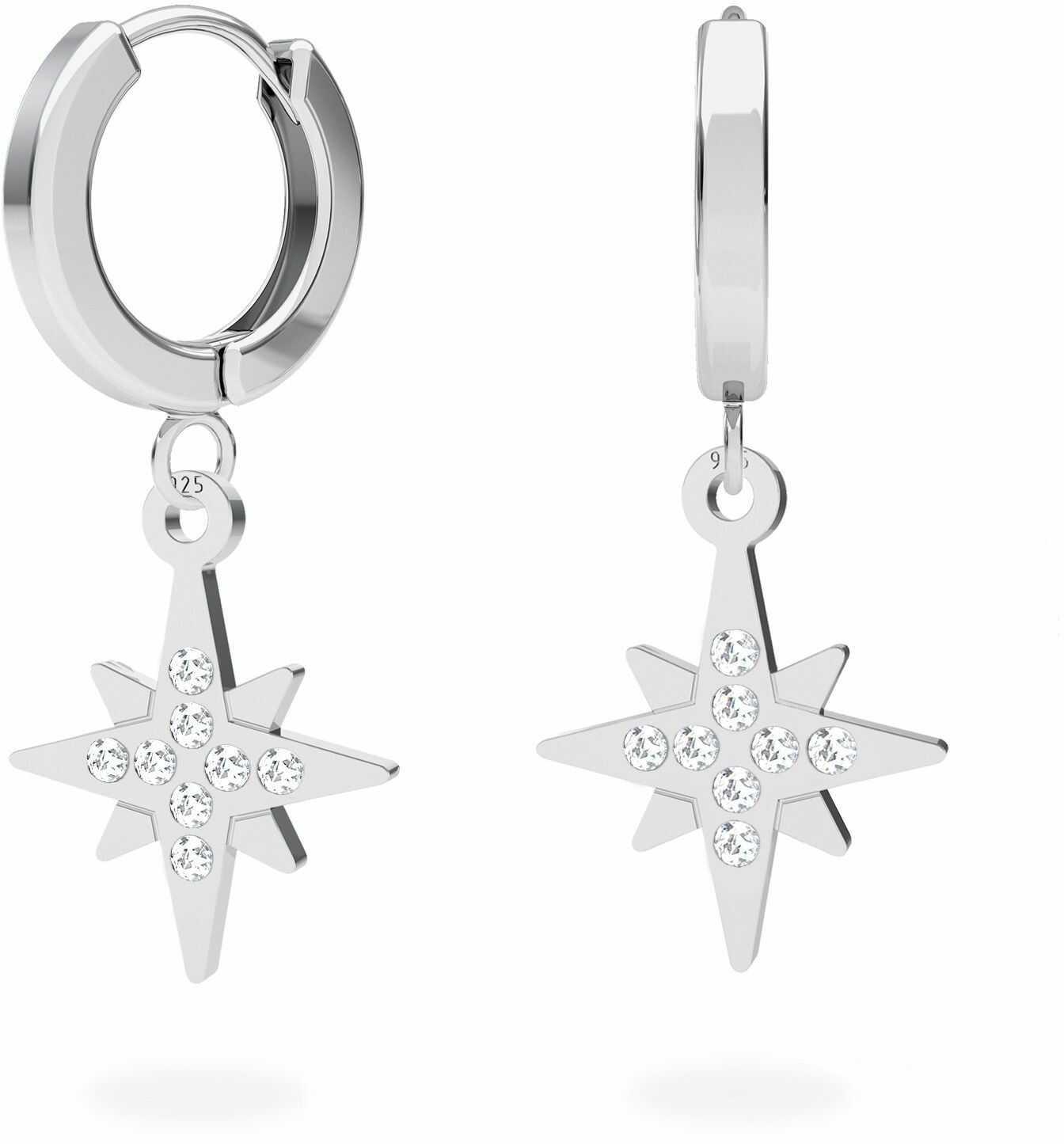 Srebrne kolczyki gwiazda północy z kryształami Swarovskiego, srebro 925 : Srebro - kolor pokrycia - Pokrycie platyną