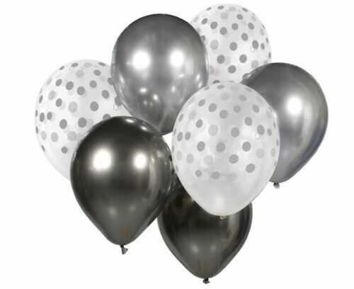 Bukiet balonowy srebrno-grafitowy, 7 szt.