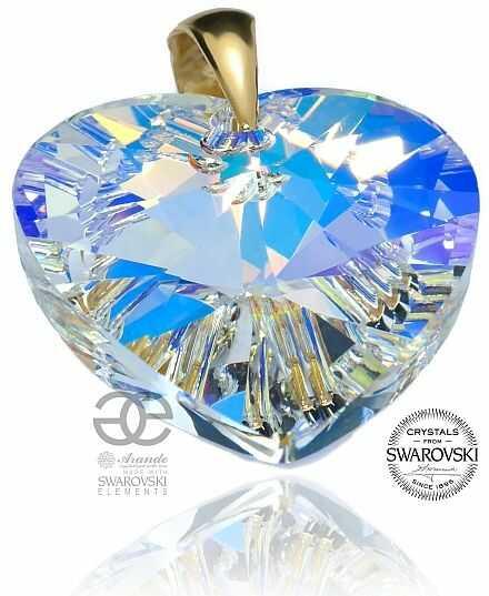 SWAROVSKI WISIOREK SERCE duży kryształ AURORA GOLD ZŁOTE SREBRO