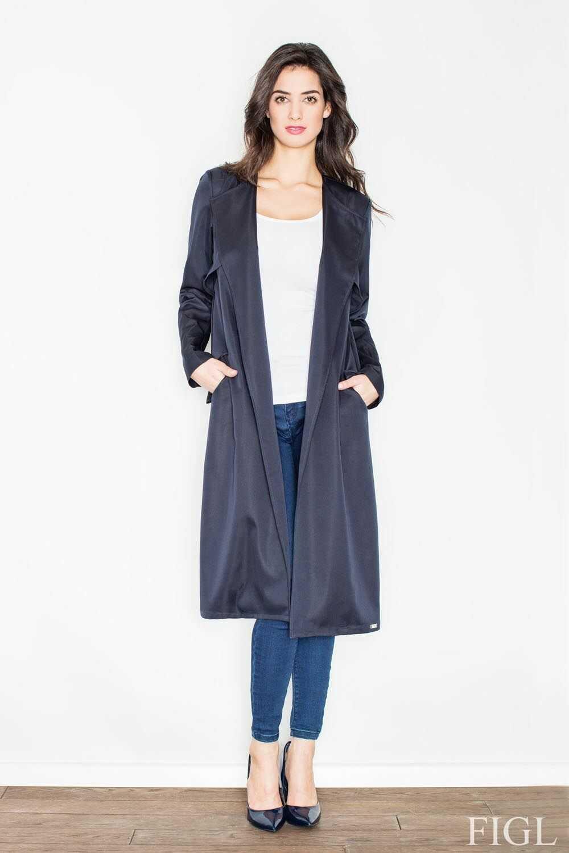 Granatowy płaszcz typu trencz bez zapięcia z wiązanym paskiem