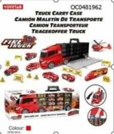 Transporter ciężarówka straż pożarna w walizce