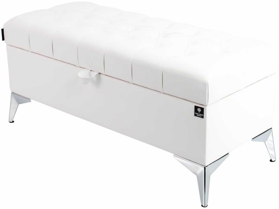 Kufer Pikowany CHESTERFIELD Eko-Skóra Biała / Model Q-2 Rozmiary od 50 cm do 200 cm