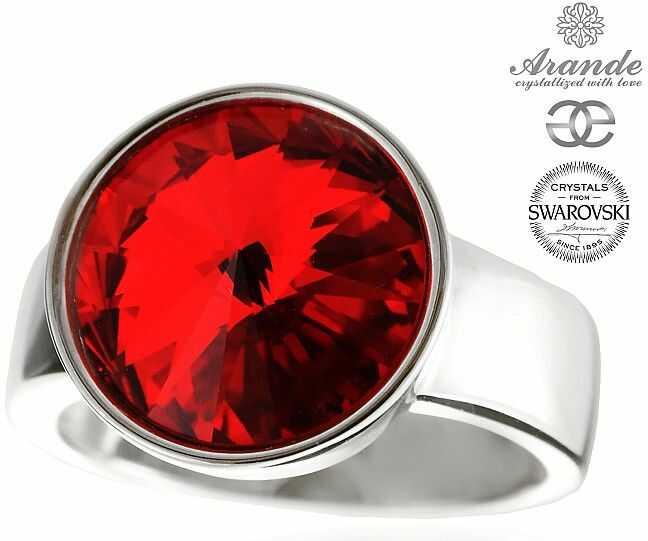 SWAROVSKI piękny pierścionek czerwony PARIS SIAM SREBRO