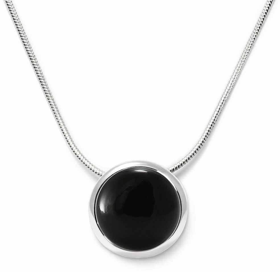 Kuźnia Srebra - Naszyjnik srebrny, 45cm, Czarny Onyks, 5g, model