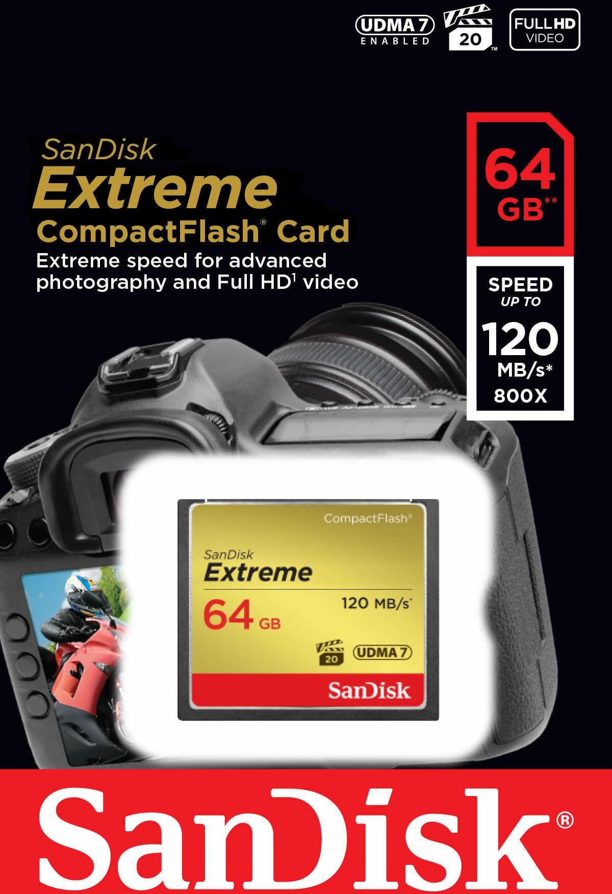 SanDisk SDCFXSB-064G-G46 - KARTA EXTREME CF 64 GB 120/85MB/s SanDisk SDCFXSB-064G-G46 - KARTA EXTREME CF 64 GB 120/85MB/s