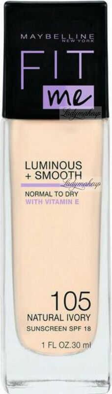 MYABELLINE - FIT ME - LUMINOUS + SMOOTH - Rozświetlający podkład do twarzy w płynie - SPF18 - 30 ml - 105 NATURAL IVORY
