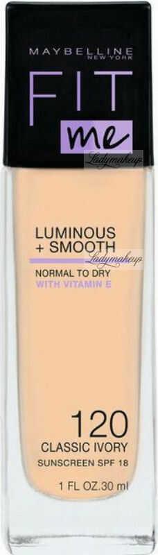 MYABELLINE - FIT ME - LUMINOUS + SMOOTH - Rozświetlający podkład do twarzy w płynie - SPF18 - 30 ml - 120 CLASSIC IVORY