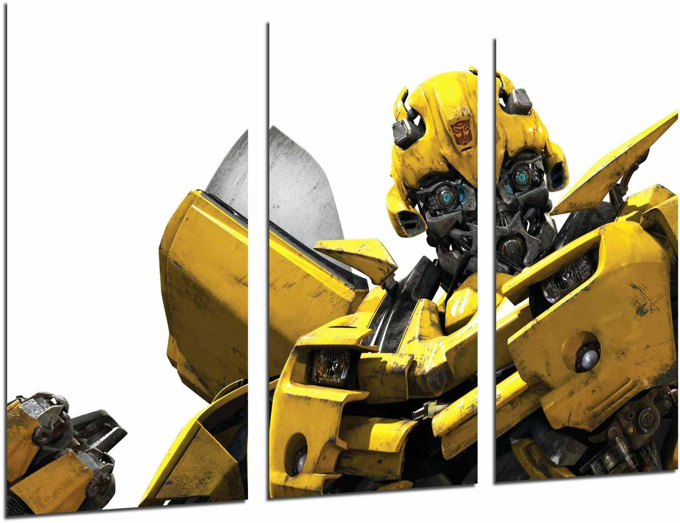 Obraz ścienny - Transformers żółty, Autobots, Hummel, biały, 97 x 62 cm, druk drewniany - format XXL - druk artystyczny, ref.26913