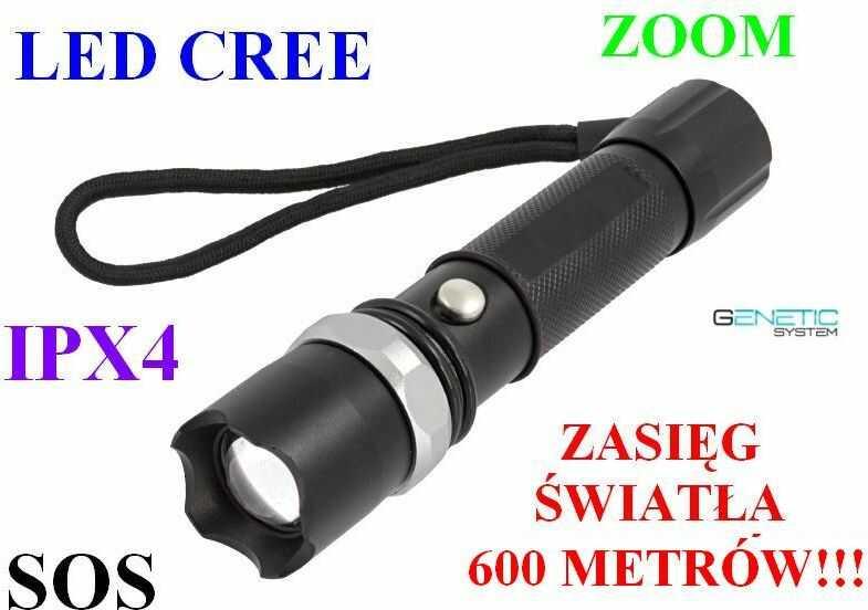 Metalowa Latarka Taktyczna SWAT LED CREE + ZOOM + SOS +... - Zasięg Światła 600 Metrów!!