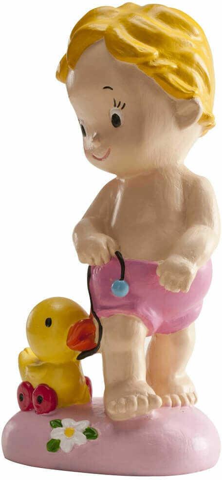 Dekoracyjna figurka tortowa Dziewczynka z kaczuszką - 1 szt.