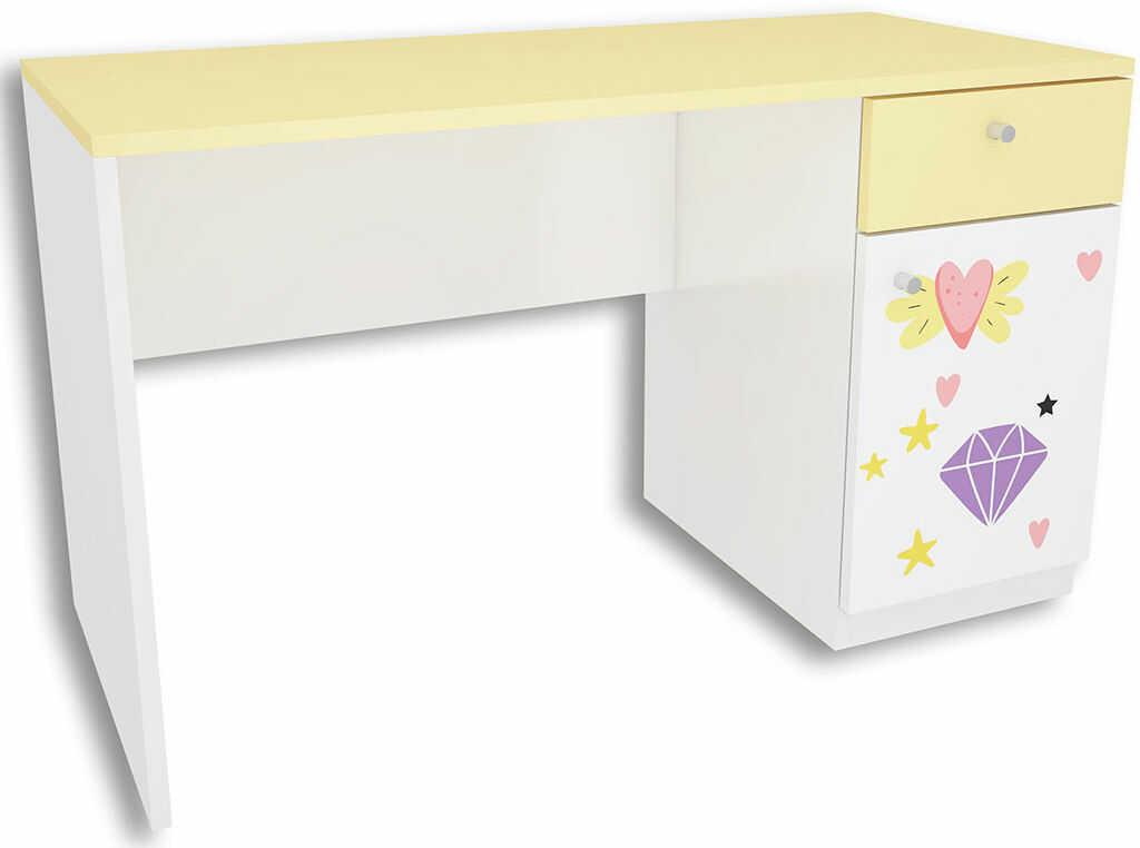 Biało-żółte biurko dla dziewczynki Lili 2X - 3 kolory