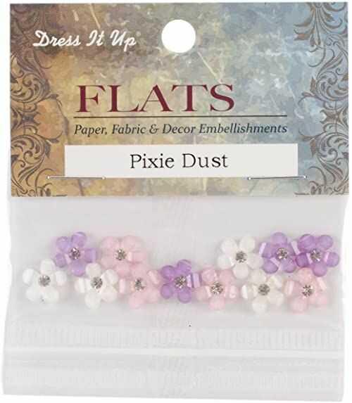 Dress it up 1177336 guziki, posypywanka, plastik, różowo-biały liliowy, jeden rozmiar, 15 komponentów