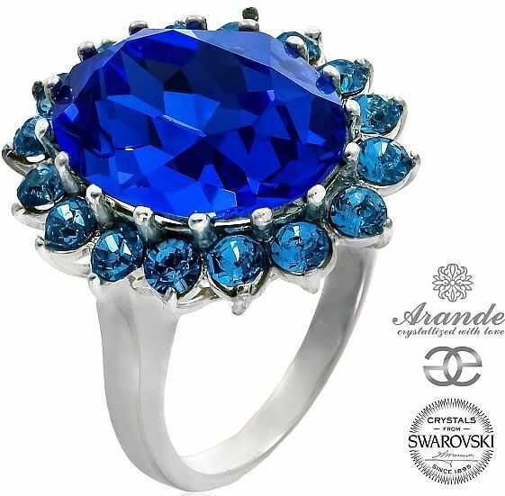 Kryształy przepiękny pierścionek ROYAL BLUE SREBRO