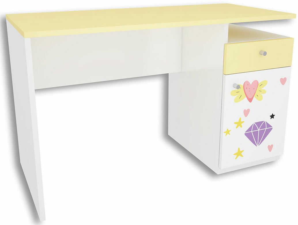 Biało-żółte biurko dla dziecka Lili 3X - 3 kolory