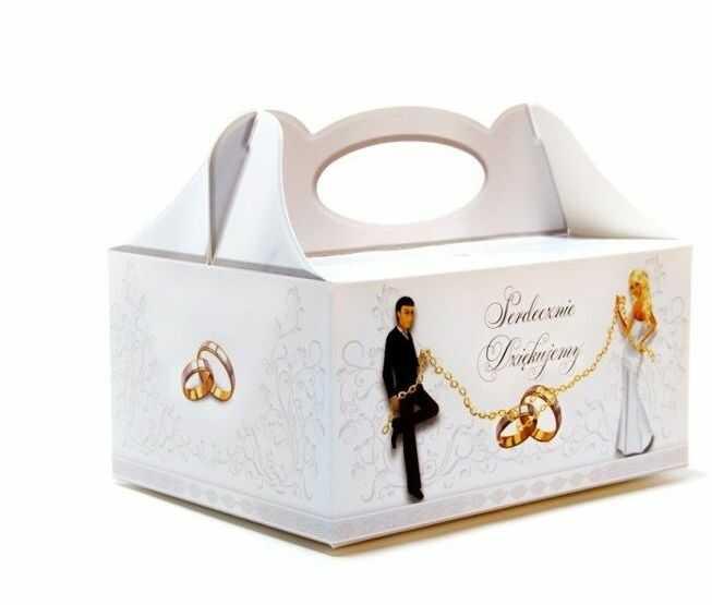 Pudełko na ciasto weselne Serdecznie Dziękujemy 1 sztuka PUDLAN-1x