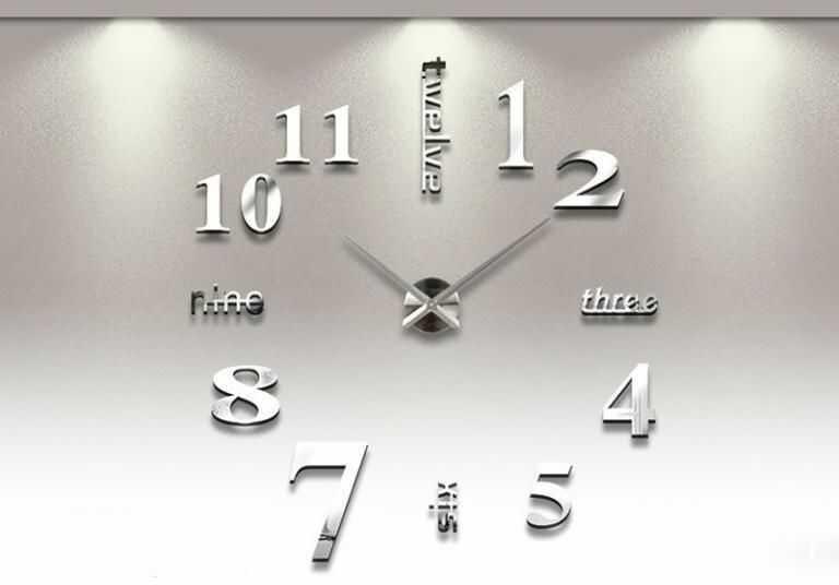 Ogromny Zegar (regulowana średnica od 65-150cm!) Ścienny, Efekt 3D, Naklejany (2 kolory do wyboru).