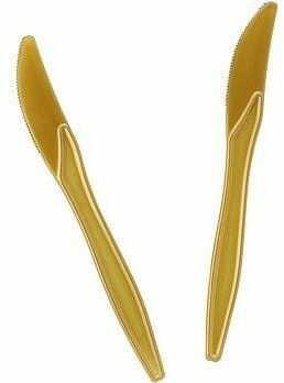 Noże plastikowe Lux złote 10 szt.
