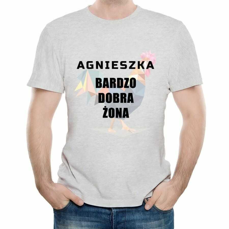 Koszulka Szara Męska z Twoim Nadrukiem DOBRA ŻONA