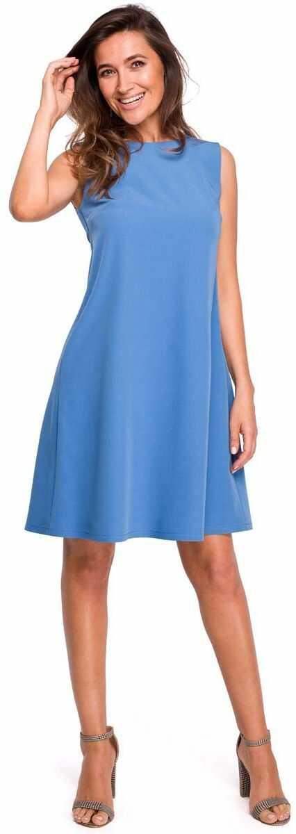 Niebieska trapezowa sukienka z dekoltem na plecach