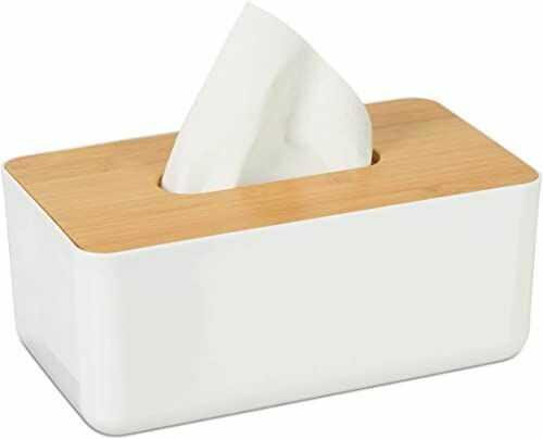 Relaxdays Pudełko na chusteczki z bambusa, do łazienki, nowoczesne wzornictwo, tworzywo sztuczne, wys. x szer. x gł.: 10 x 23 x 13 cm, biały/naturalny