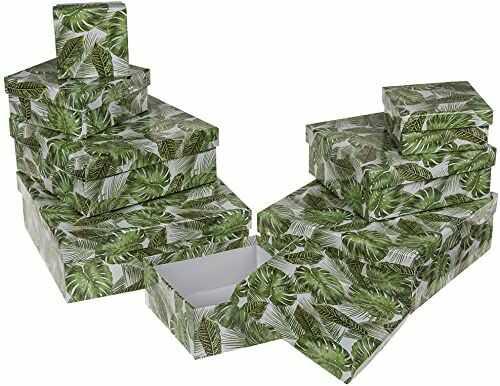 OOTB białe pudełko prezentowe z motywem liści, karton, wielokolorowe, 22,5 x 22,5 x 8 cm