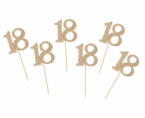 Toppery, dekoracja tortu 18 urodziny, cyfra złota