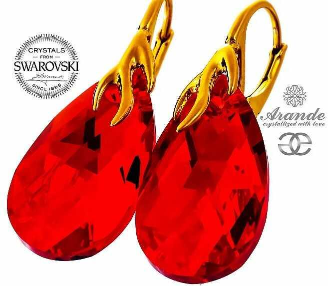 NOWE SWAROVSKI czerwone ozdobne kolczyki SIAM GOLD ZŁOTE SREBRO