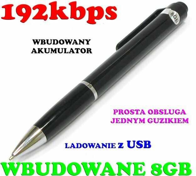 Dyktafon/Podsłuch Nagrywający Dźwięk, Ukryty w Długopisie (poj. zapisu 8GB/200h.) + Akcesoria.