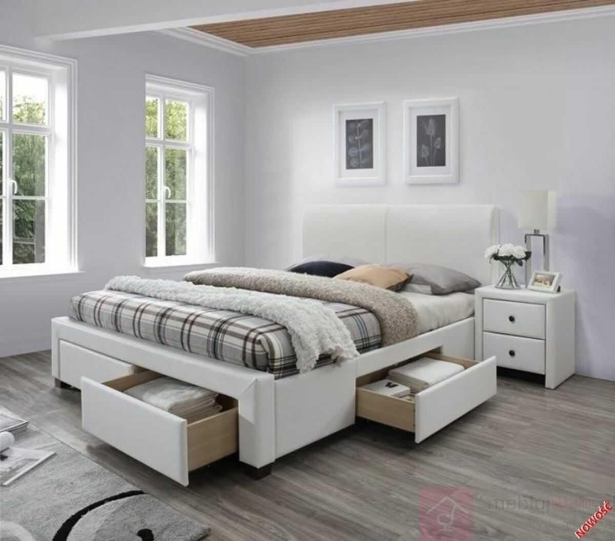 KUPON 10% NA STRONIE  Łóżko MODENA 2 Halmar 160x200 cm, Biały [Wysyłka 2022-04-20]