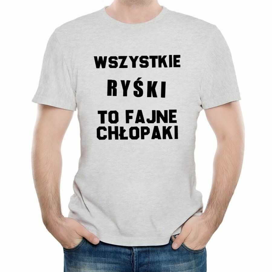 Koszulka Szara Męska z Twoim Nadrukiem FAJNE CHŁOPAKI