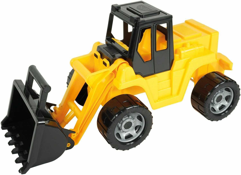 Lena 02048  mocna ogromna ładowarka do roweru ok. 64 cm, Giga Truck w kolorze żółtym i czarnym, Łopatka do ładowania z uchwytem obsługowym, pojazd ładujący dla dzieci od 3 lat