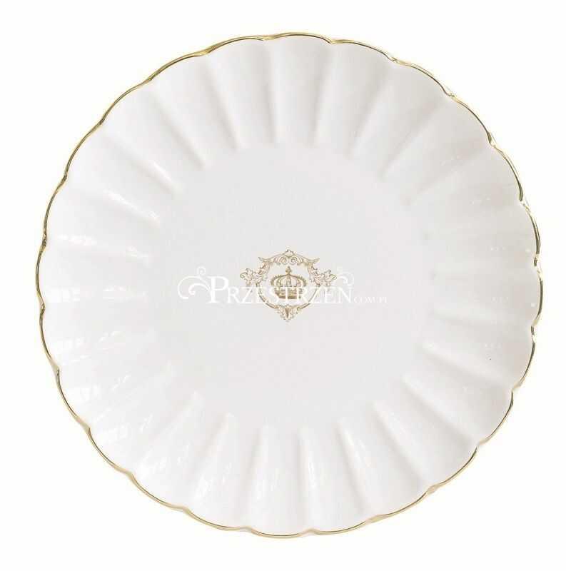 PORCELANOWY TALERZYK DESEROWY R2S - Royale White GOLD