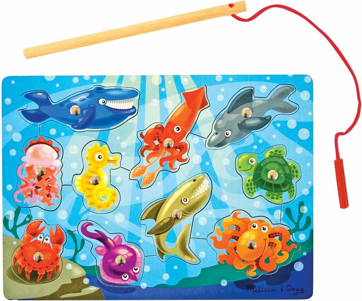 Melissa & Doug Magnetyczna drewniana gra wędkarska i puzzle z drewnianymi magnesami na ocean zwierzę