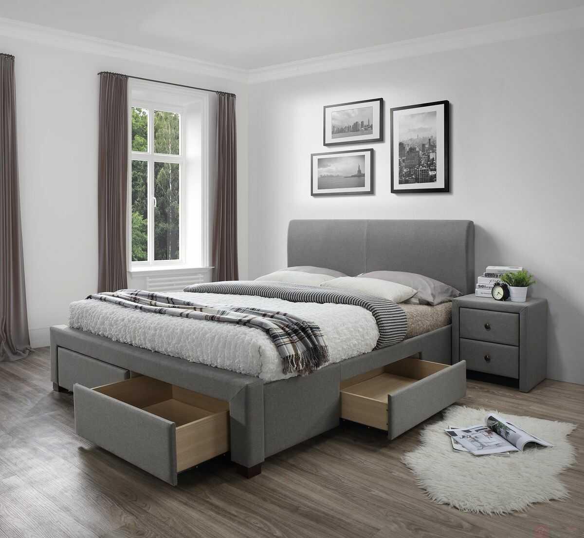 KUPON 10% NA STRONIE  Łóżko MODENA Halmar 160x200 cm, Szary [Wysyłka 2022-04-20]