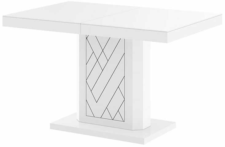 Rozkładany stół z wysokim połyskiem biały - Erdon
