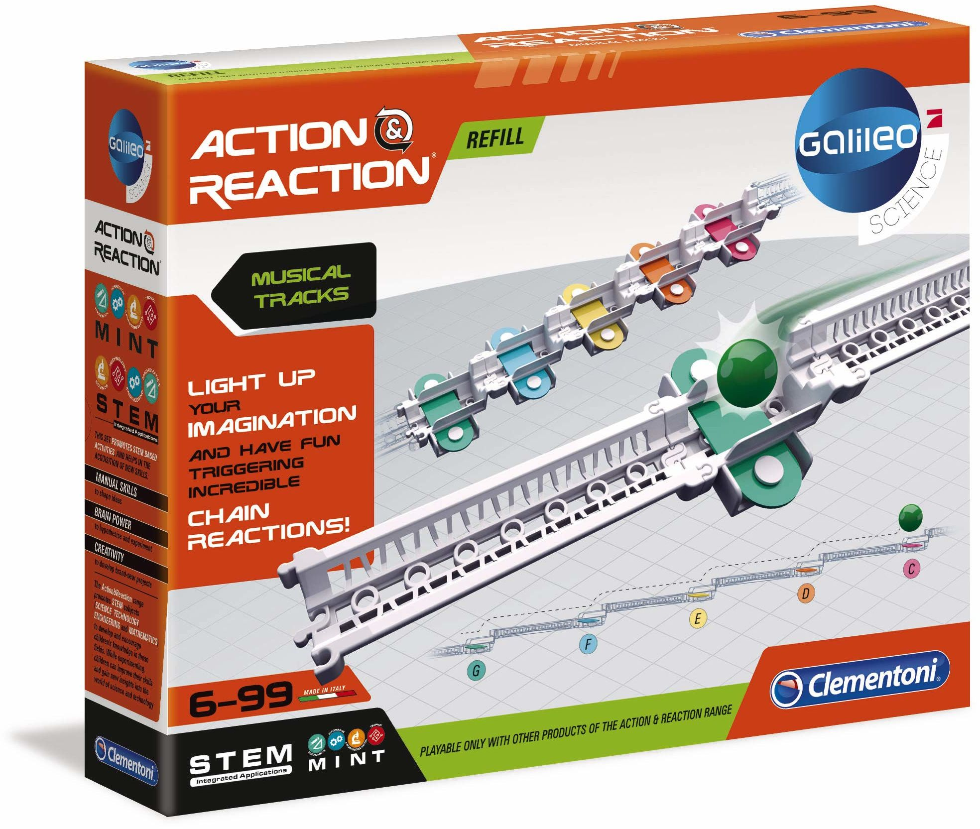 Clementoni 59168 Galileo Science - szyny dźwiękowe akcji i reakcji, spektakularne akcesorium do rozszerzalnego zestawu budowlanego, zabawka dla dzieci od 6 lat
