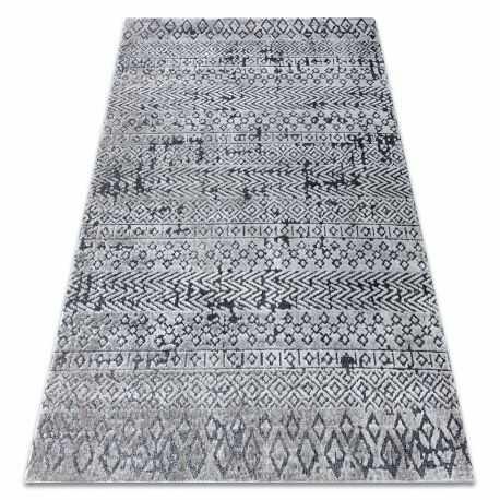 Dywan Strukturalny SIERRA G6042 Płasko tkany, dwa poziomy runa szary - geometryczny, etniczny 80x150 cm