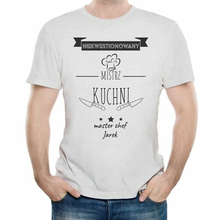 Koszulka Szara Męska z Twoim Nadrukiem DLA KUCHARZA