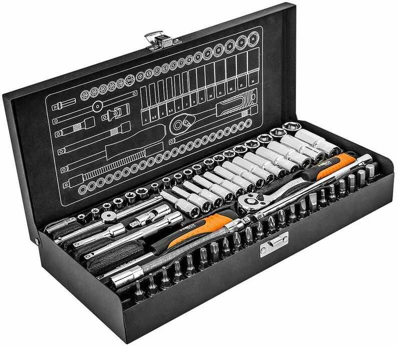 Klucze nasadowe 1/4'' /zestaw 63 elementy metalowa walizka/ 08-679